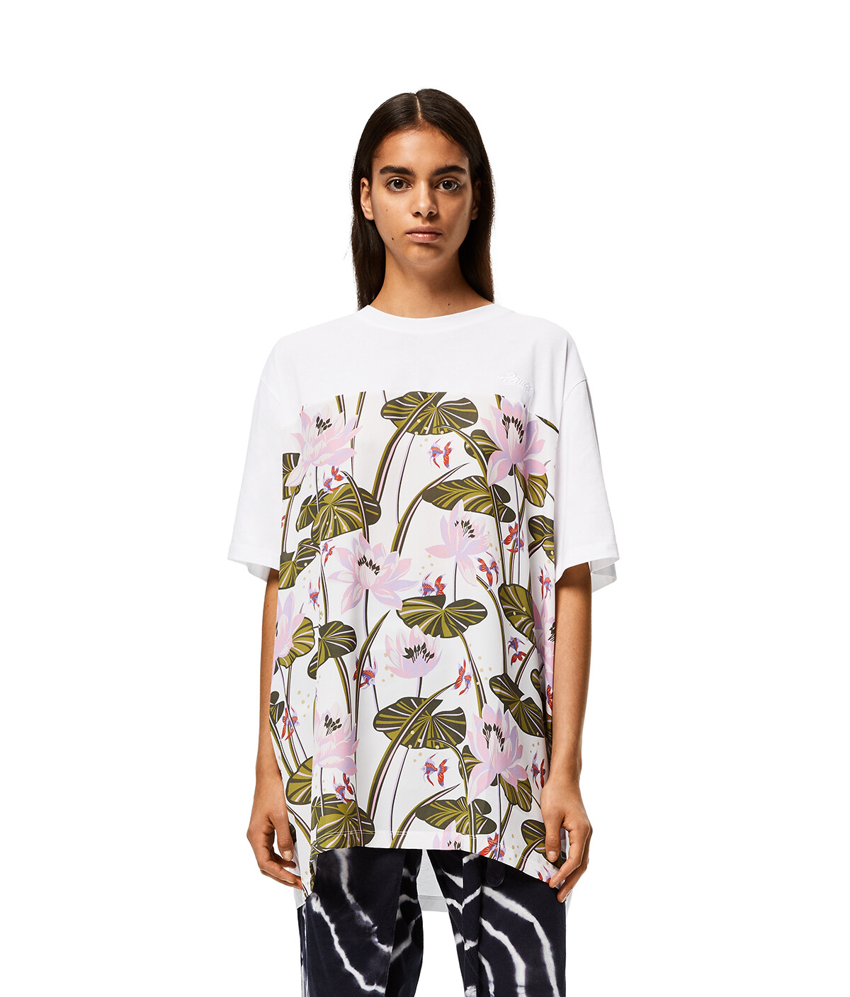 LOEWE Oversize T-Shirt In Waterlily Cotton And Silk Pink/White front