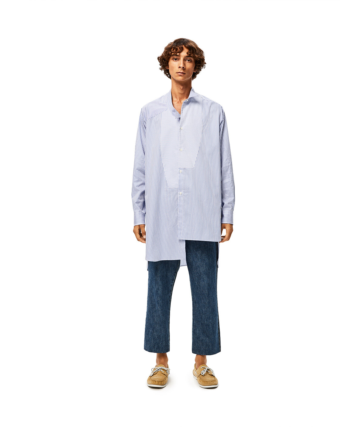 LOEWE New Assymetric Shirt Stripes Blanco/Azul front