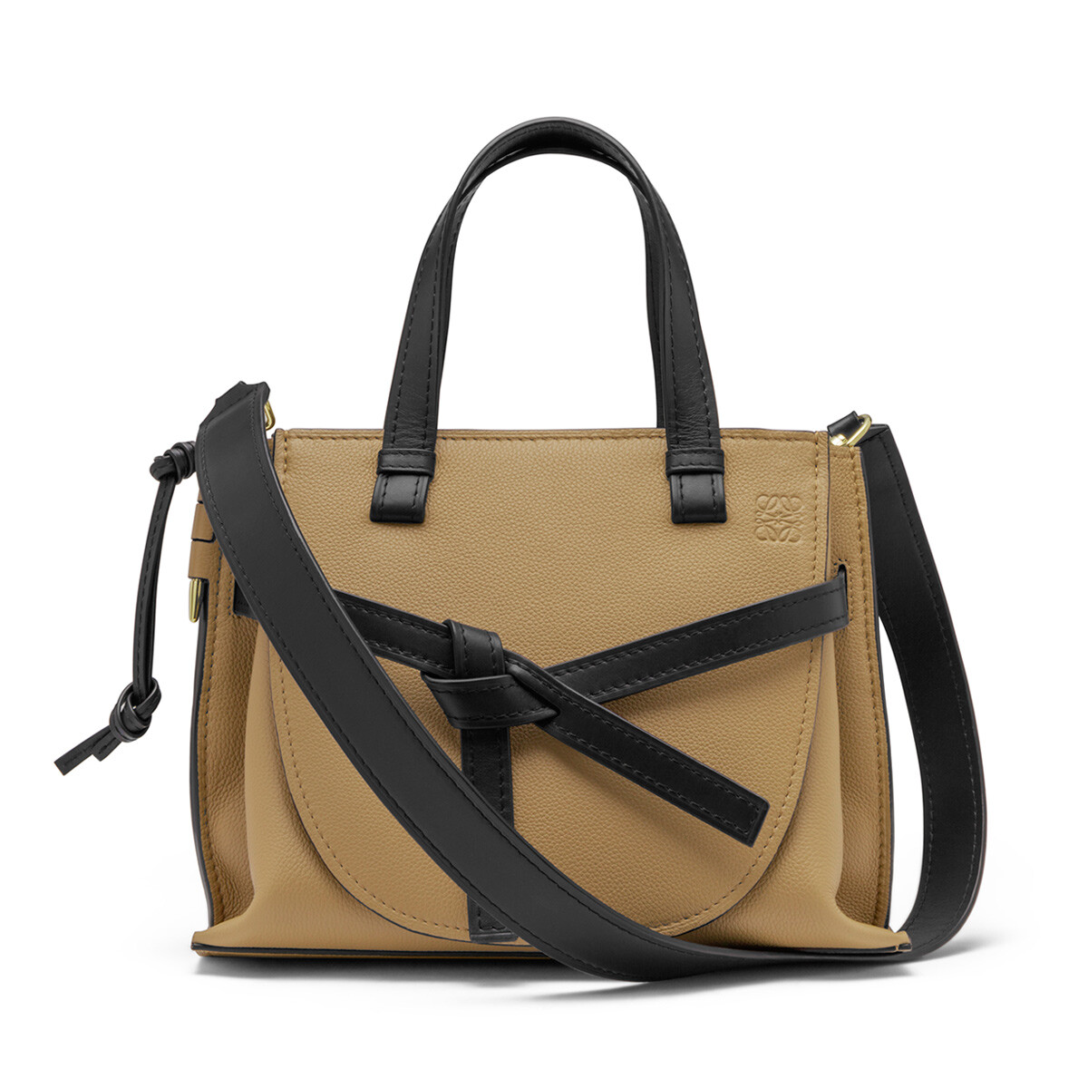 LOEWE Gate Top Handle Small Mocca/Black front