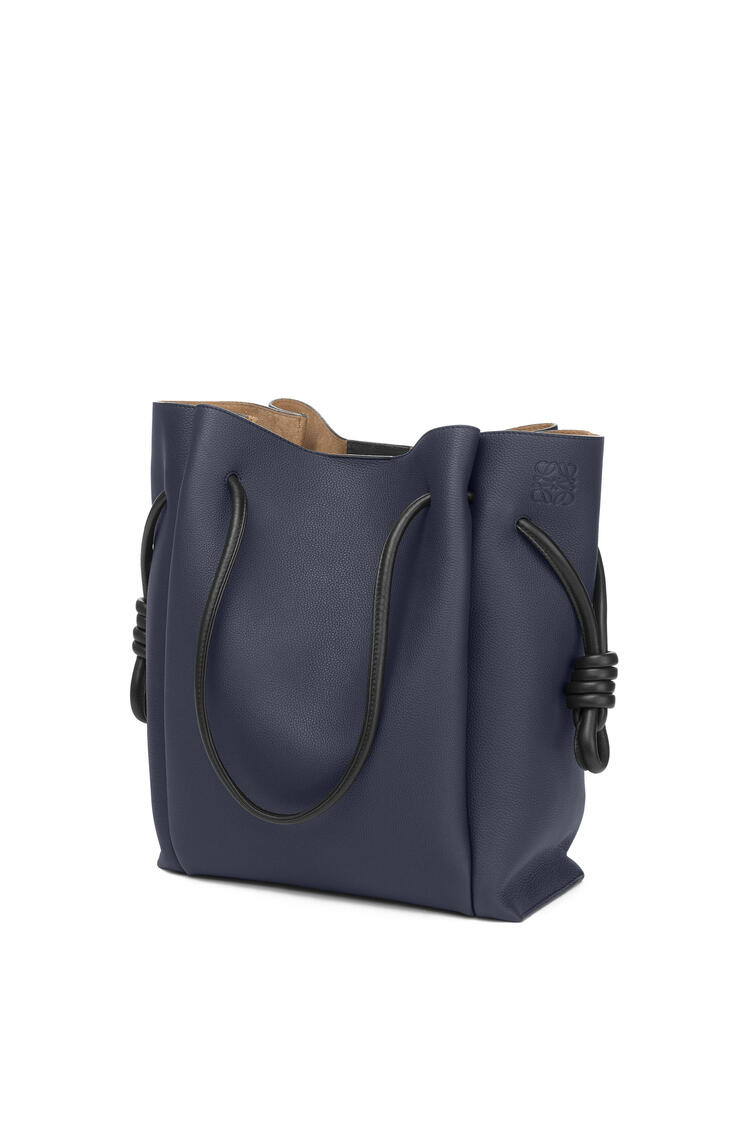 LOEWE Flamenco knot tote bag in soft grained calfskin Midnight Blue/Black pdp_rd