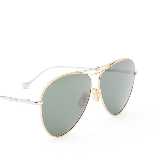 LOEWE Metal Knot Pilot Sunglasses Gold/Green Smoke front