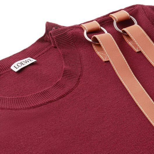LOEWE Leather Strap Sweater Burdeos all