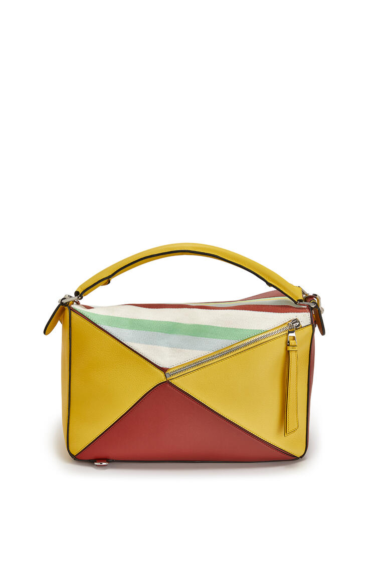 LOEWE Large Puzzle Bag In Canvas And Calfskin Yellow/Multicolour pdp_rd