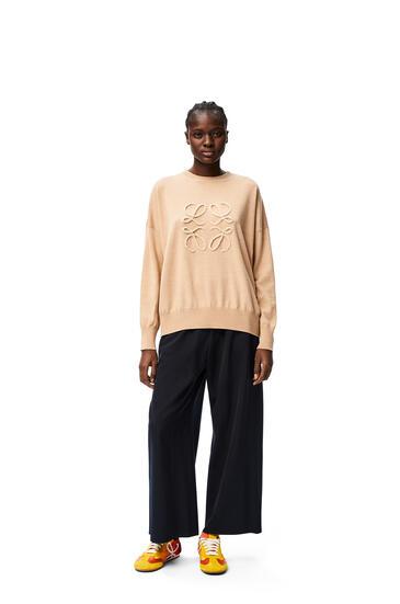 LOEWE Cropped elasticated waist trousers in wool Deep Sea Blue pdp_rd