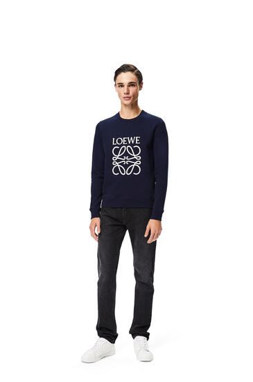 LOEWE LOEWE anagram embroidered sweatshirt in cotton Navy Blue pdp_rd