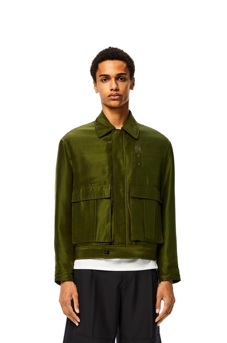 LOEWE Patch Pocket Jacket In Silk Khaki Green pdp_rd