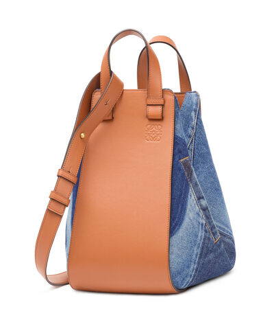 LOEWE Hammock Denim Medium Bag Multitone Denim/Tan front