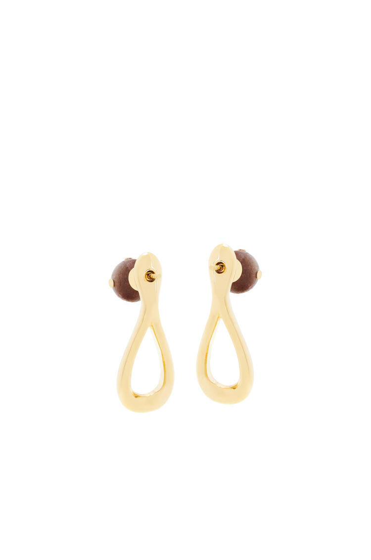 LOEWE Drop earrings in metal and wood Gold/Brown pdp_rd