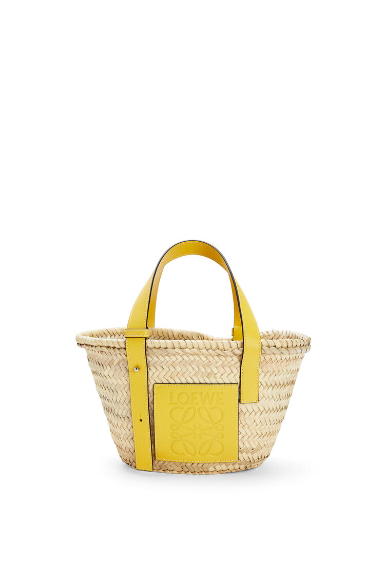 LOEWE Small Basket bag in palm leaf and calfskin Yellow pdp_rd