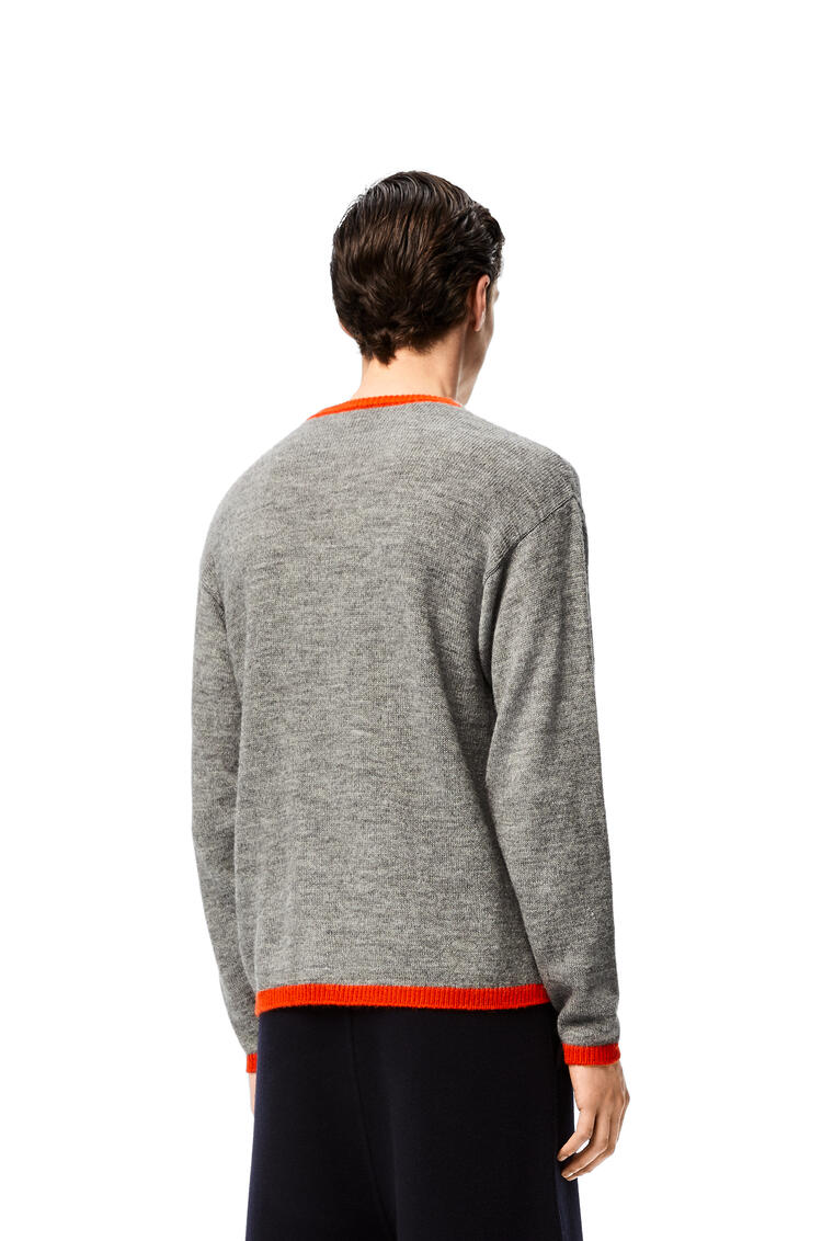 LOEWE Anagram embroidered sweater in acrylic and alpaca Grey/Red pdp_rd