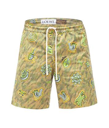 LOEWE Paula Print Swim Shorts Green front