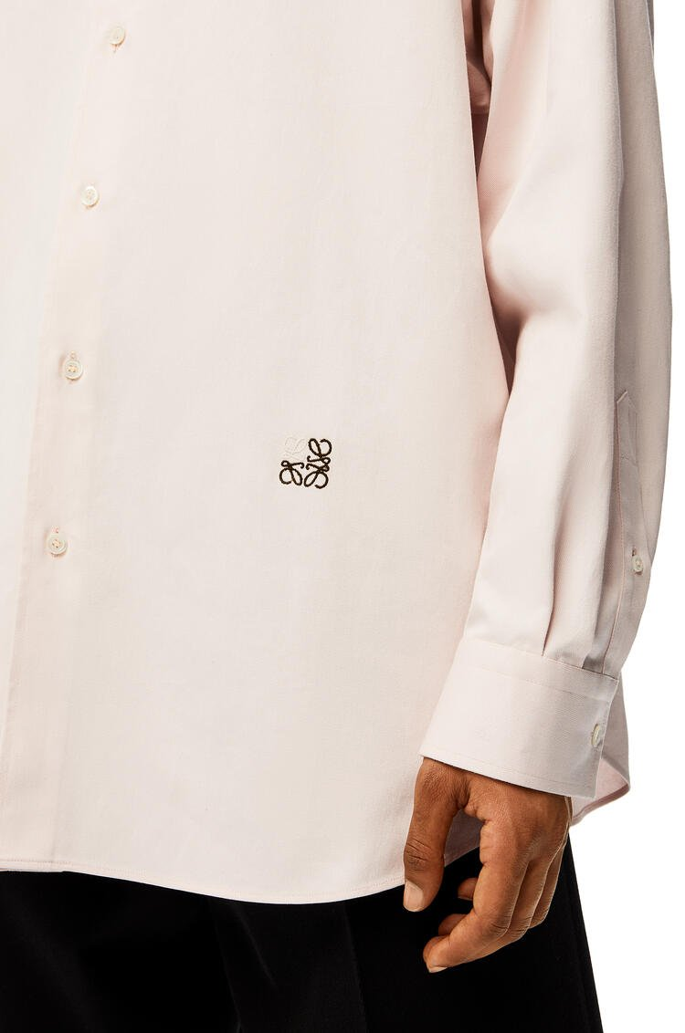 LOEWE Anagram embroidered oversize shirt in cotton Pale Pink pdp_rd
