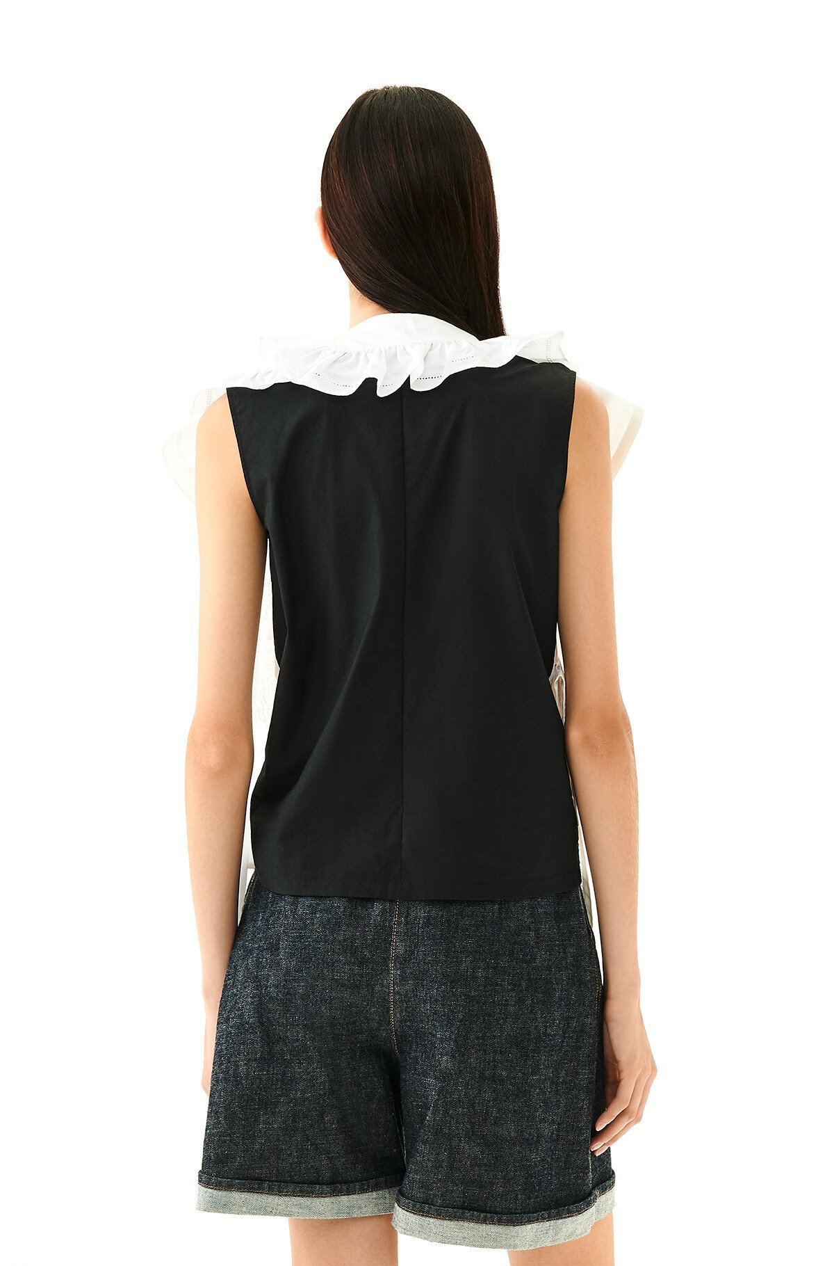 LOEWE Lace Ruffle Panel Top White front