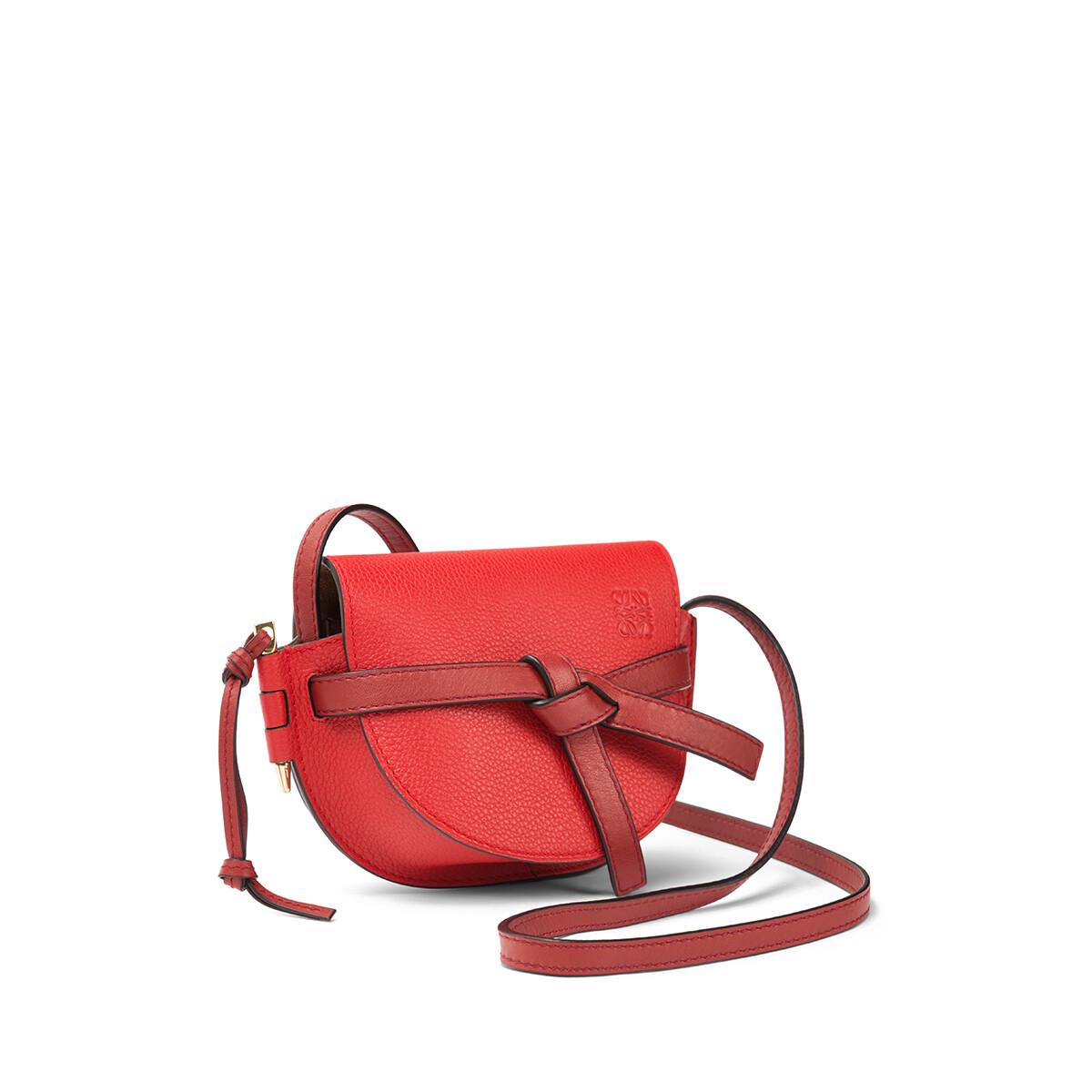LOEWE Gate迷你手袋 Scarlet Red/Burnt Red front
