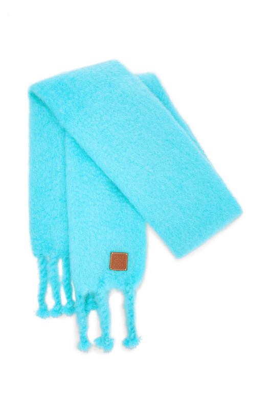 LOEWE 45X230 Mohair Scarf Turquoise front