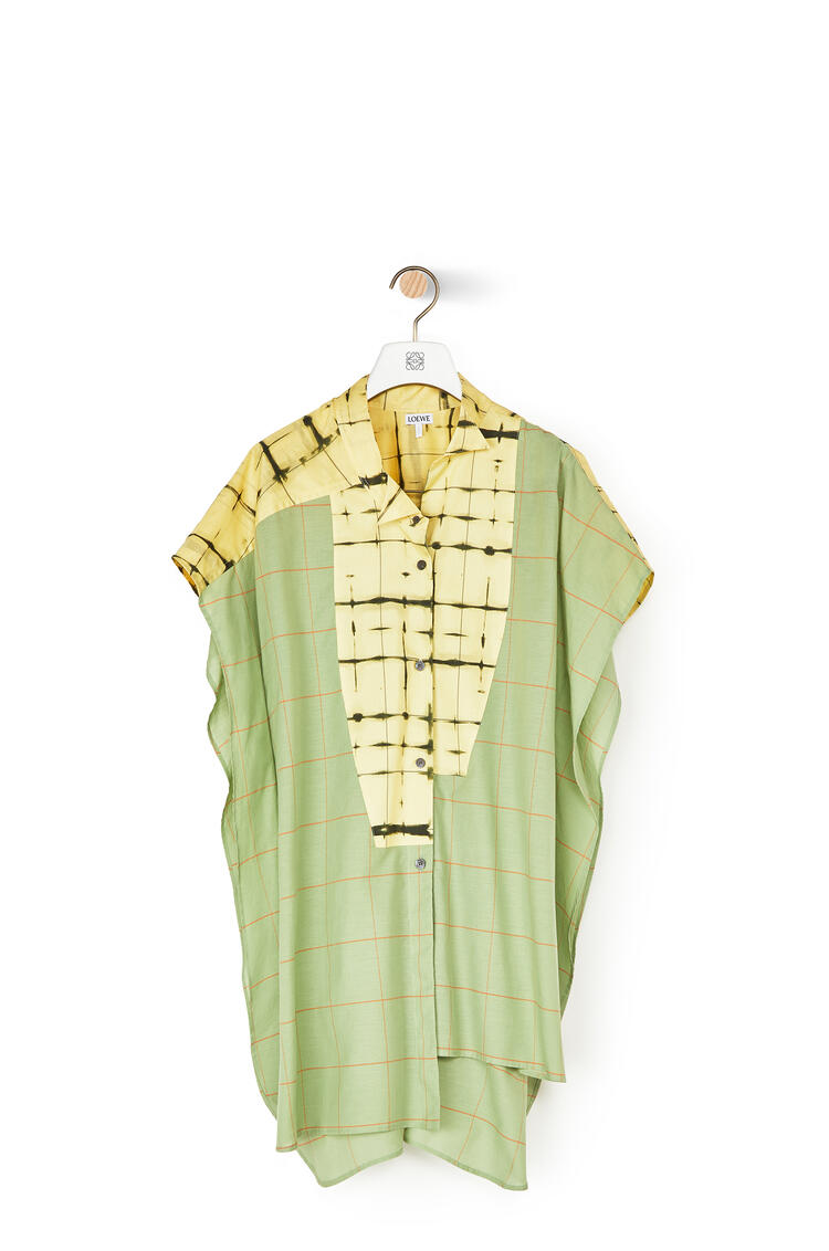 LOEWE Check Short Sleeve Asymmetric Shirt In Cotton Green/Yellow pdp_rd