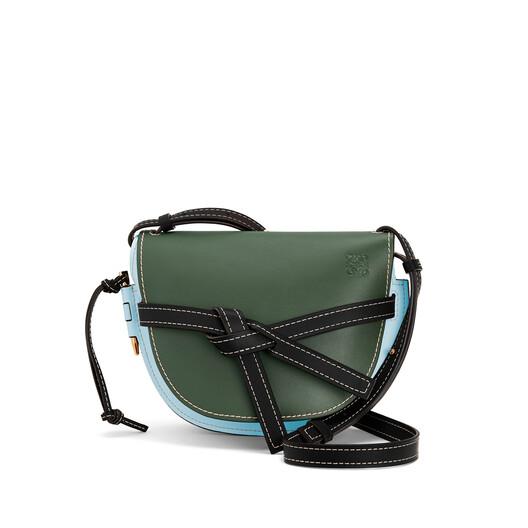LOEWE Gate Small Bag Vintage Khaki/Crystal Blue front