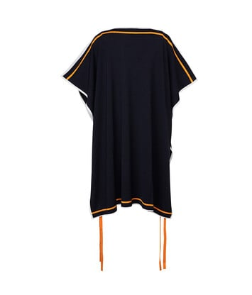 LOEWE Strappy Poncho Knit Top Navy Blue/Orange/White front