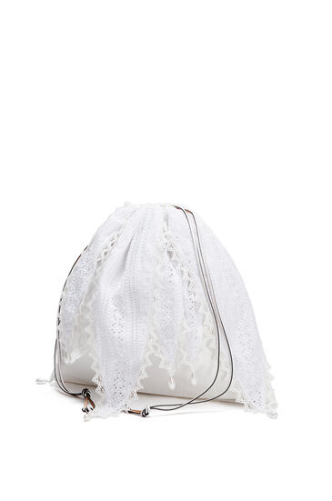 LOEWE Large Drawstring pouch in cotton Soft White pdp_rd