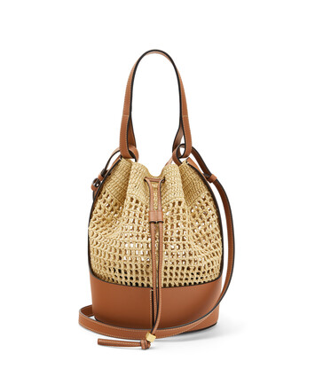 LOEWE Balloon Bag In Raffia And Calfskin 原色/棕褐色 front