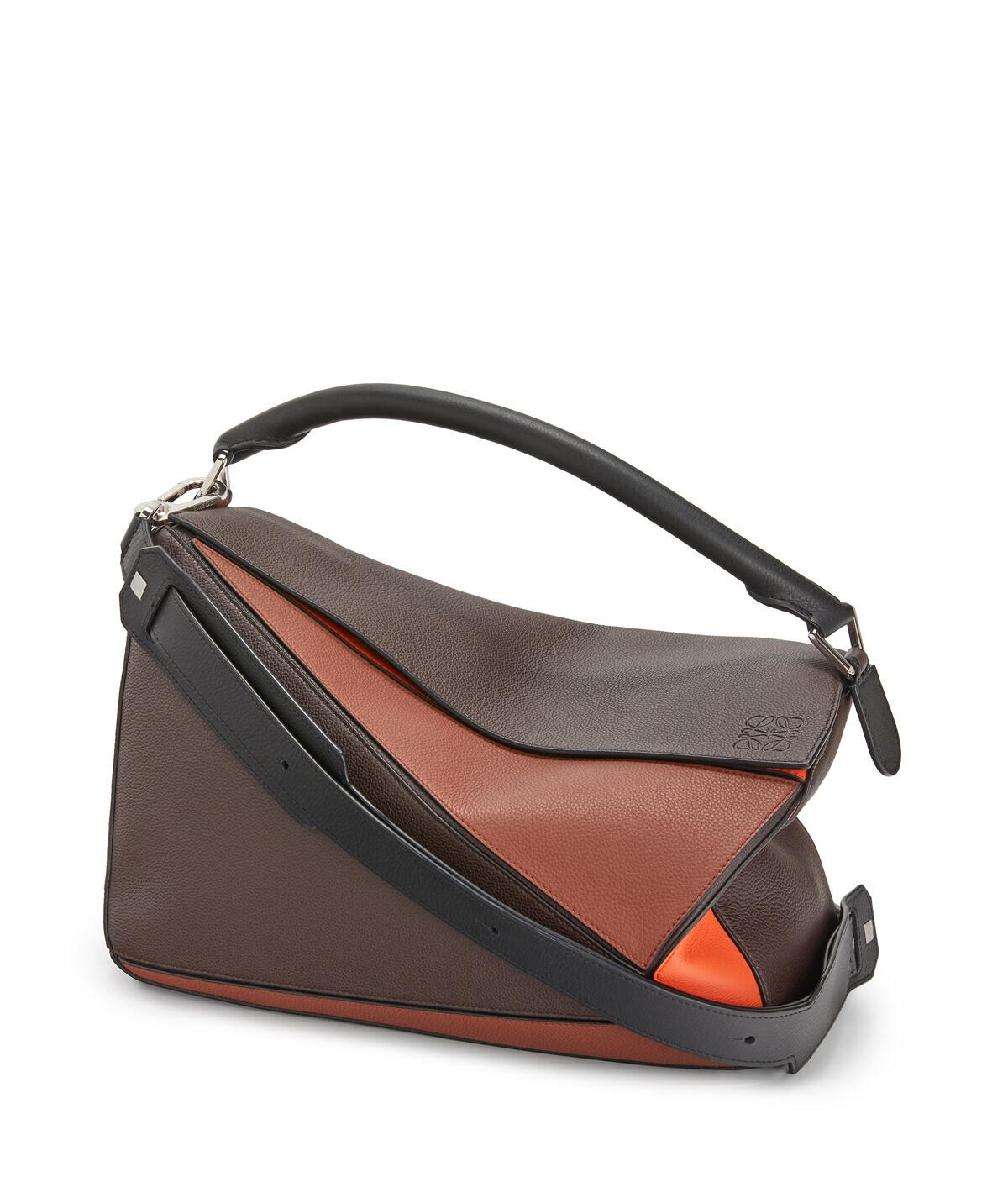 LOEWE Puzzle Large Bag Chocolate Brown/Orange front
