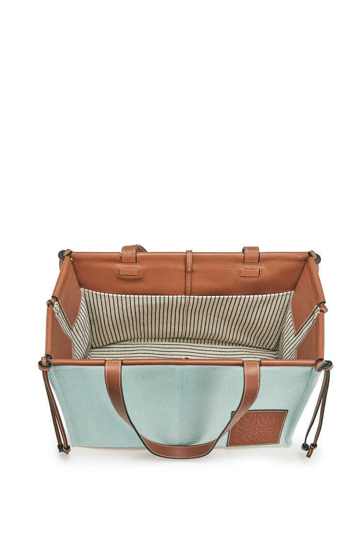 LOEWE Small Cushion Tote bag in canvas and calfskin 水色 pdp_rd