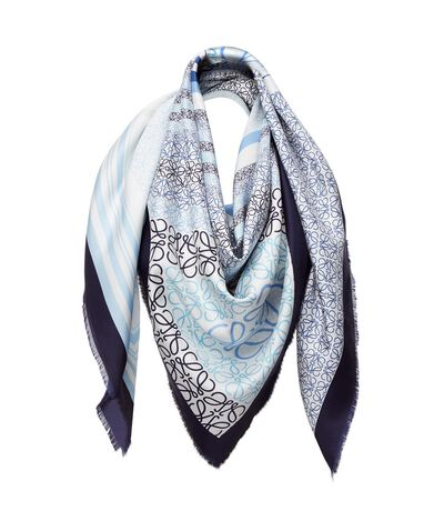 LOEWE 140X140 Scarf Patchw Anagram Blue/Multicolor front