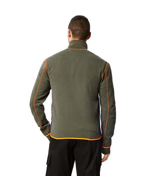 LOEWE Eln High Neck Fleece Jacket Khaki Green front