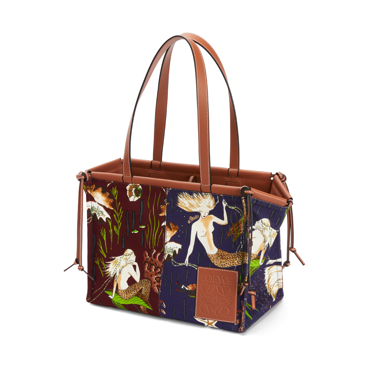 LOEWE Cushion Tote Bag In Mermaid Canvas And Calfskin Marine/Burgundy front