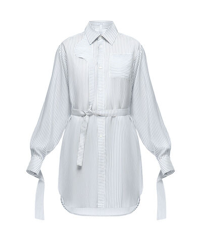 LOEWE Strap Oversize Shirt Stripes Blanco/Azul front