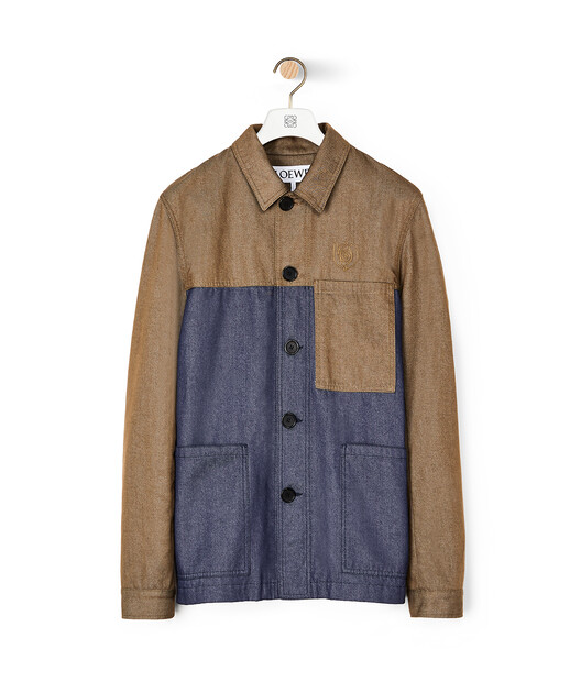"LOEWE ""EYE""自然工装外套 Khaki Green/Blue front"