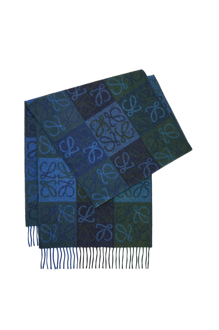 LOEWE Anagram scarf in wool and cashmere Navy/Dark Green pdp_rd