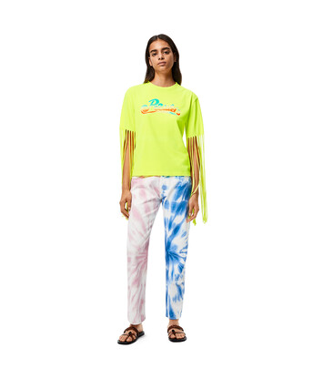 LOEWE Fringed Sleeves T-Shirt In Cotton And Polyester Neon Yellow front