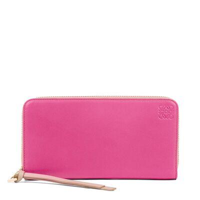 LOEWE Zip Around Wallet Fucshia/Sand front