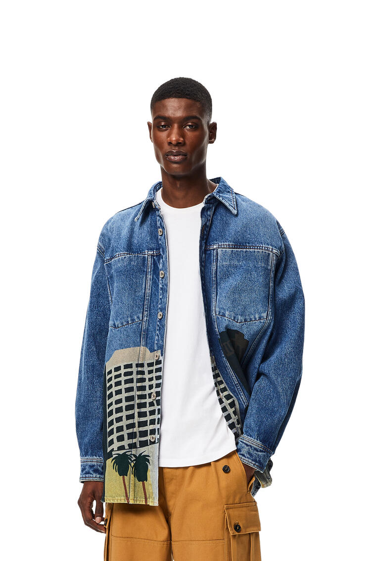 LOEWE L.A Series denim overshirt in cotton Dark Blue/Multicolor pdp_rd