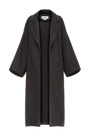 LOEWE Oversize Belted Coat Grey Melange front