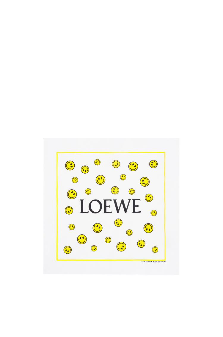 LOEWE 50 x 50 cm Smiley bandana in cotton White/Yellow pdp_rd