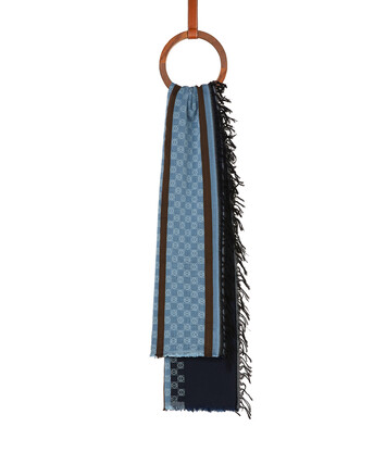 LOEWE 70X157 Scarf Stripe Anagram 海軍藍 front