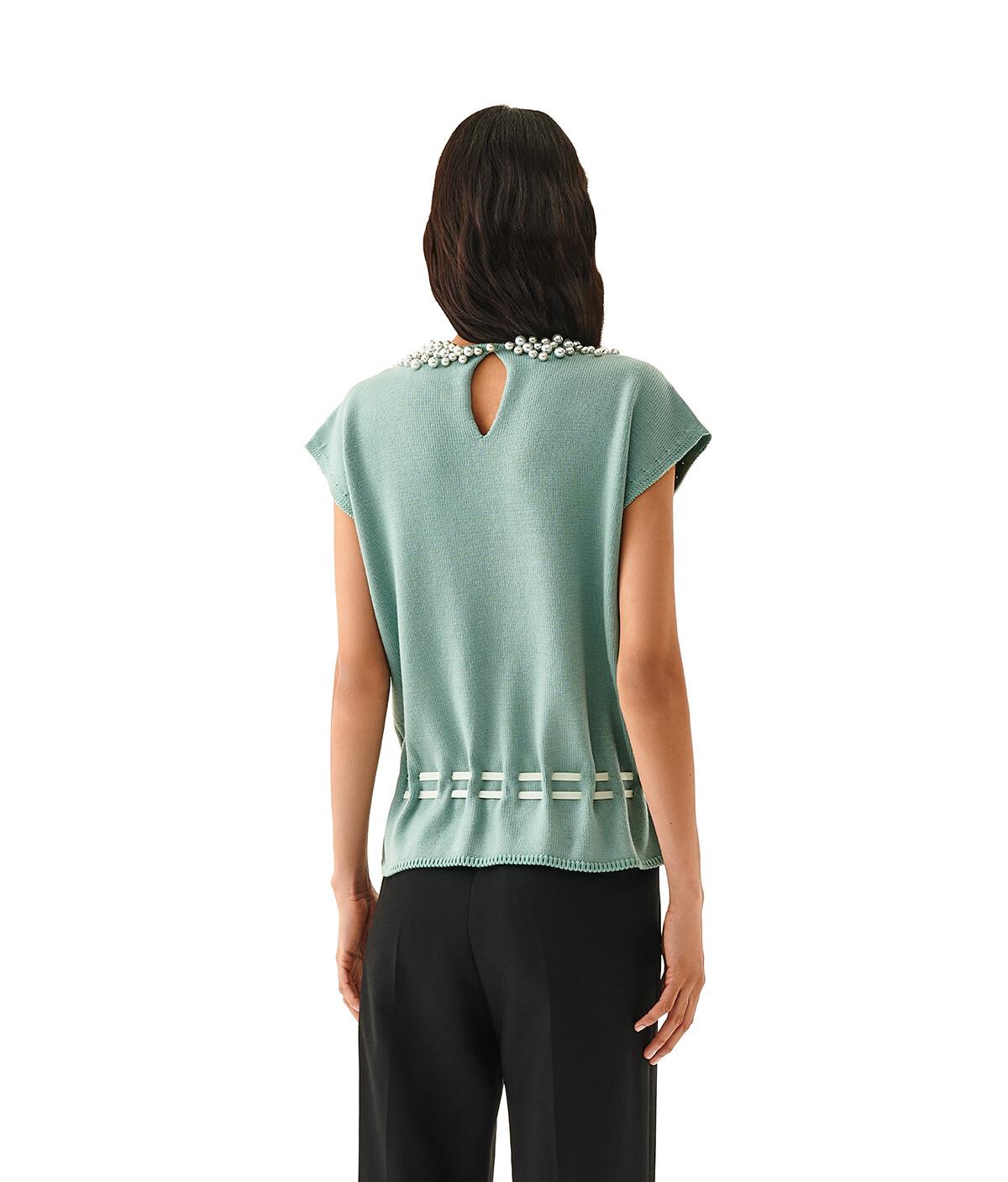 LOEWE Sleeveless Sweater Pearls Verde Agua front