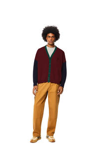LOEWE Colour block cardigan in wool Burgundy/Green pdp_rd