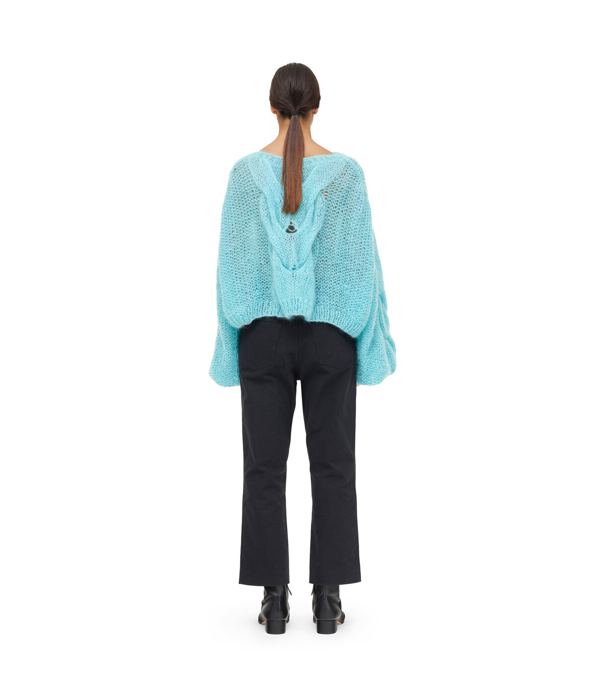 LOEWE Cable Sweater Turquoise front