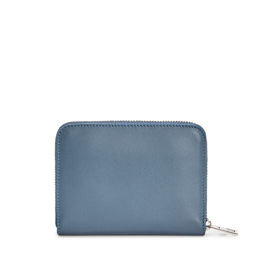 LOEWE Brand 6 Card Zip Wallet Steel Blue front