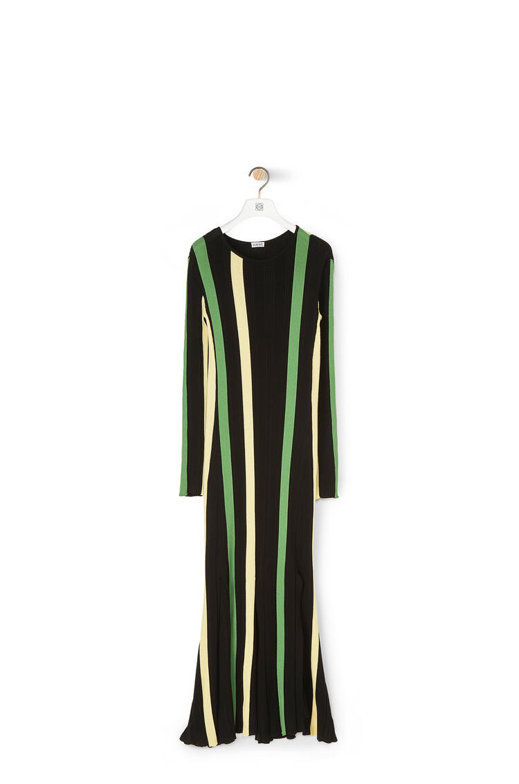 LOEWE Rib Knit Dress In Stripped Cotton Yellow/Black pdp_rd