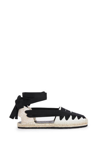 LOEWE Ribbon Espadrille In Canvas Black/White pdp_rd