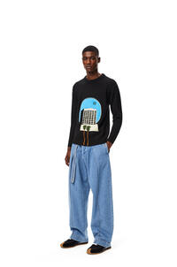 LOEWE L.A. Series crew neck patch sweater in wool and alpaca Black/Multicolor pdp_rd