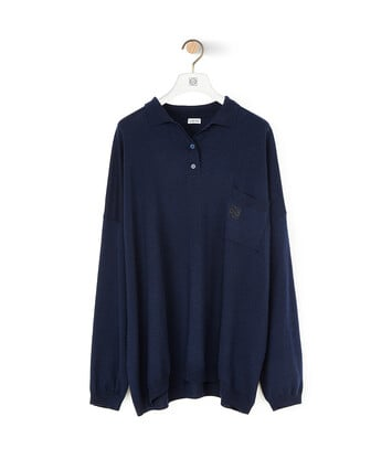 LOEWE Oversize Poloneck Sweater 海军蓝 front