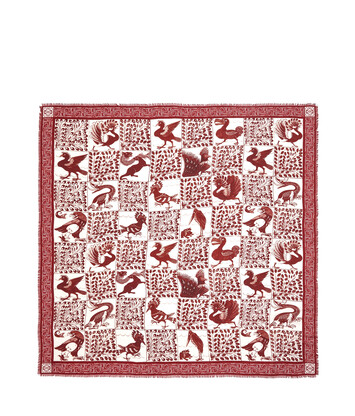 LOEWE 140X140 Scarf Animals Red front