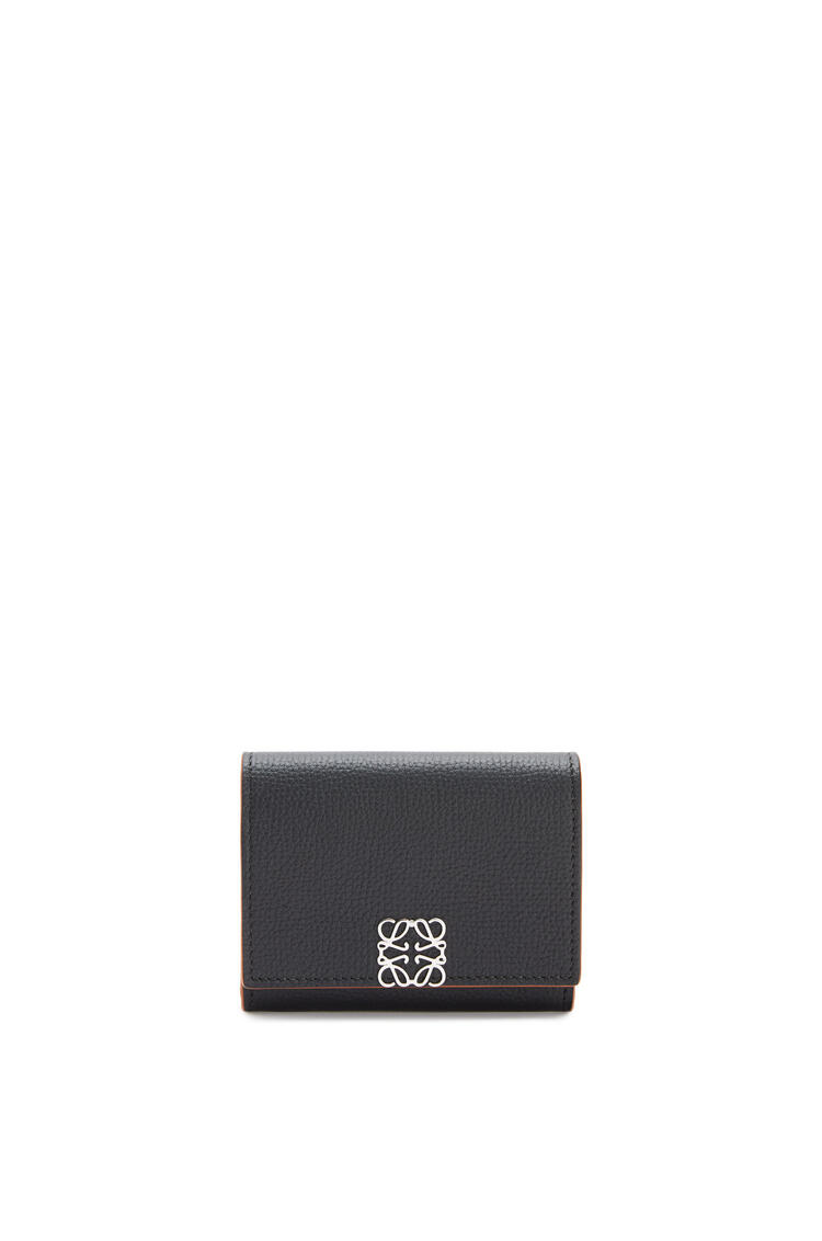 LOEWE Anagram square coin cardholder in pebble grain calfskin Black pdp_rd