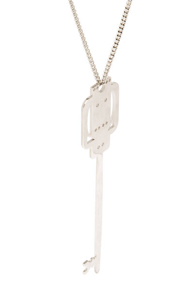 LOEWE Key Necklace Palladium front