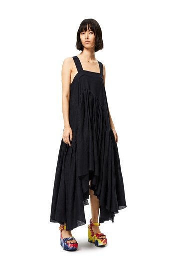 LOEWE Gathered Tank Dress In Linen Black front